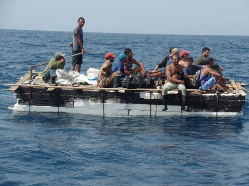 Cuban migrants are seen on a raft before being rescued by members of Mexico's Navy (SEMAR) in Progreso, in the state of Yucatan